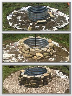 Rock fire pits, River rocks and Fire on Pinterest