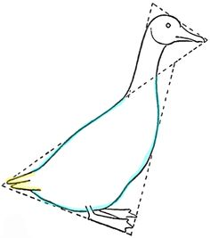 Drawing a Goose : How to Draw Geese Step by Step Tutorial - How to Draw Step by Step Drawing Tutorials Bird Drawings, Cartoon Drawings, Drawing Birds, Drawing Drawing, Watercolor Bird, Watercolor Animals, Goose Drawing, How To Draw Steps, Happy Cartoon