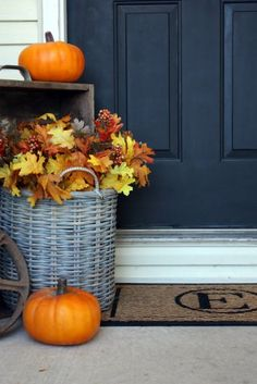 Reusable fall decoration -- plastic pumpkins and leaves in an aged wicker basket. Also DIY monogram doormat! by christine Autumn Decorating, Porch Decorating, Decorating Ideas, Decor Ideas, Diy Monogram, Plastic Pumpkins, Small Pumpkins, Front Door Decor, Autumn