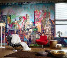 Grafite com desenho de prédios na sala de estar