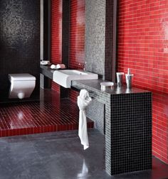 Glass mosaics, Black & Red, Bold & Timeless Bathroom www.newagestone.gr