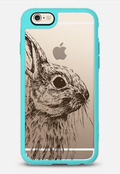 Rabbit illustration iPhone 6 case in Teal & Clear @mikirosedesign by Miki Rose Design   @casetify