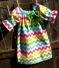 Girls Chevron Peasant Dress Perfect for Spring or Easter  Size 6mo - 6