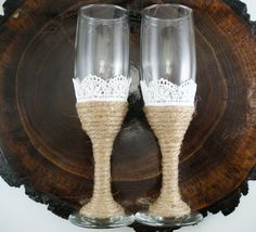 Love the twine with the lace. our table cloths will be lace with the burlap table runner. these would match very well! but will write mr and mrs in glass paint
