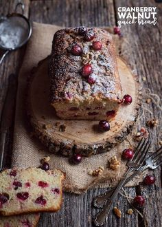 This cranberry walnut quick bread recipe is easy to make and full of tangy fresh berries and enriched with cream cheese. A family favorite and also makes a good #holiday gift!