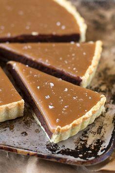 Salted caramel bittersweet chocolate tart