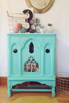 love this repurposed radio cabinet