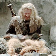 "Looks like he's petting a Golden Retriever, but it's just Bombur. ""Have some laughing Dean"" Awww, Look at that! He looks like a mischevious boy. O Hobbit, The Hobbit Movies, Hobbit Hole, Bilbo Baggins, Thorin Oakenshield, Thranduil, Legolas, Fellowship Of The Ring, Lord Of The Rings"