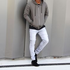 Outfit of the day featuring the Triple Biker Zip Hoodie in Kaki, Biker Jeans Pant in Grey and the Low Zip Boots. Biker Jeans, Jeans Pants, Mens Skinny Suits, White Jeans Outfit, Mens Fashion, Fashion Outfits, Style Fashion, Outfit Grid, Winter Sale