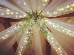 Burgundy room draping with fairy lights and green foliage Ceiling Draping, Ceiling Lights, Burgundy Room, Reception Rooms, Fairy Lights, Ranges, Chandelier, Table Decorations, Instagram Posts