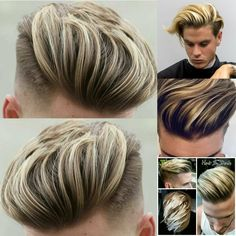 Medium length hair styles are the trend these days when it comes to men's looks. These styles are simple to create and give men suave and well groomed looks with a bit of flair. Hot Hair Styles, Damp Hair Styles, Hair And Beard Styles, Medium Hair Styles, Men Blonde Hair, Dyed Hair Men, Mens Medium Length Hairstyles, Slick Hairstyles, Men Hair Color Highlights