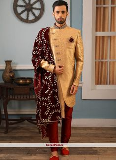 Light peach Jacquard silk fabric which is textured in gold zari thread weaved in it's entire length. The mandarin collar is highlighted with fine hand zardosi embroidery and a touch of pebble sized buttons to complete the look. Sherwani Groom, Mens Sherwani, Wedding Sherwani, Punjabi Wedding, Dupion Silk, Indian Ethnic Wear, India Fashion, Embroidered Silk, Mandarin Collar