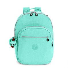 Kipling Seoul Large Laptop Backpack ($114) ❤ liked on Polyvore featuring bags, backpacks, fresh teal, water bottle backpack, day pack backpack, backpack laptop bag, blue laptop bag and teal backpack