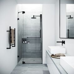 Bring modern luxury and a spacious, spa-like feel to your contemporary bathroom with the VIGO Fixed Glass Shower Screen. Modern bathroom Ideas and Design - Bathroom Inspiration - Bathroom Remodel Bathtub Doors, Frameless Shower Doors, Modern Shower Doors, Bathtub Glass Panel, Modern Bathroom Design, Bathroom Interior Design, Minimal Bathroom, Minimalist Bathroom Design, Kitchen Interior