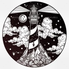 Decorative Vector Lighthouse Illustration - Decorative Symbols Decorative