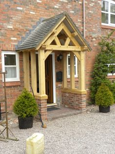 Bespoke wooden porch love this idea for the home Modern Farmhouse, Farmhouse Style, Front Porch Design, Front Porches, Cottage Front Doors, Porch Roof, Storybook Cottage, Back Doors, Entrance Hall