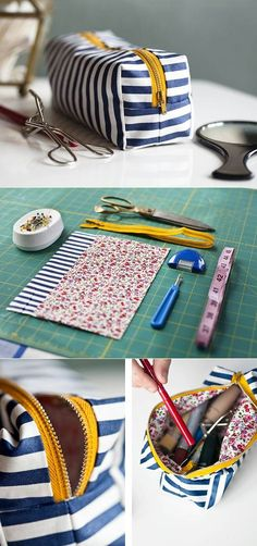 .~For you DIY-ers like myself here's a pattern for a cute little travel kit! Looks easy enough~. @adeleburgess