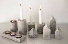Velour: oktober 2013 Vi brugte Homesicks guide til at lave de fine beton lysestager, huse og diamanter. http://homesick.nu/