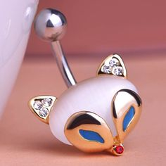 Opal Blue Cat Eye Fire Fox Belly Button Rings Only $11.62  => Save up to 60% and Free Shipping => Order Now! #Ring #Jewelry #woman #fashion