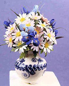 Ed Sims, IGMA Felllow - Flower arrangement - irses and Gerbera daisies, Eileen Vernon, Vernon Pottery - vase