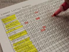 Use checklists to record what letters students can say the sound, name, and write!
