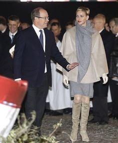 Princess Charlene of Monaco and Prince Albert II of Monaco attend the Sainte-Devote ceremony on January 26, 2015 in Monaco, Monaco.