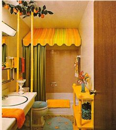 What a way to liven up a bathroom - even just that awning above the shower curtain Tangerine fun!