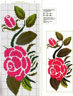 Simple pink embroidery and flowers grills & amp; Cross Stitch Tree, Cross Stitch Flowers, Cross Stitch Designs, Cross Stitch Patterns, Flower Patterns, Crochet Patterns, Broderie Simple, Filet Crochet, Hand Embroidery