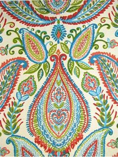 Ombre Paisley Poppy Robert Allen Fabric - Large & colorful paisley on cotton slubby basket fabric. Perfect for upholstery, drapery, slipcovers or pillow covers. Paisley Fabric, Paisley Pattern, Paisley Print, Paisley Background, Paisley Wallpaper, Textile Patterns, Print Patterns, Textiles, Fabric Design
