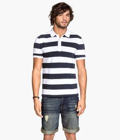 Set sail in a collared shirt with white & navy nautical stripes. | H&M For Men
