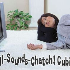 Awesome Japanese pillow with cutouts all around so you can hear TV while laying on it.