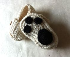 Reserved Listing Polar Bear Paw Baby Moccasins by beliz82 on Etsy, $17.00