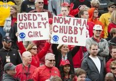 Georgia fans hold up signs in support of running backs Todd Gurley and Nick Chubb during the fourth quarter of an NCAA college football game against Missouri Saturday, Oct. 11, 2014, in Columbia, Mo. Georgia won the game 34-0. (AP Photo/L.G. Patterson)