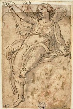 Federico Zuccaro (Federico Zuccari), c.1540/1541-1609, Italian, Seated Angel, n.d.  Pen and brown ink with brush and brown wash over red chalk, on tan laid paper, pieced and laid down on buff laid paper, edge mounted to tan laid paper; 14.8 x 10 cm.  Art Institute of Chicago.  Mannerism.