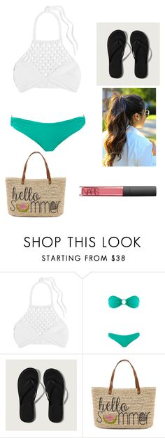"""swimming!!"" by hanbanannn ❤ liked on Polyvore featuring Mikoh, Melissa Odabash, Abercrombie & Fitch, Straw Studios and NARS Cosmetics"