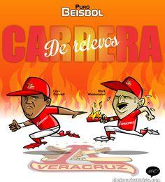 "#ElCartonDelDia para @purobeisbolfb ""CARRERA DE RELEVOS EN VERACRUZ"" @RojosdelAguila @LigaMexBeis"