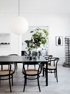 Bentwood Chairs in Modern Dining Rooms Dining Room Inspiration, Interior Design Inspiration, Interior Ideas, Modern Interior, Black And White Dining Room, Black White, Black Table, Black Dinning Table, White Chic