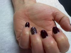 deep purple with sparkly accent nails  Oasis Salon and Spa Mill Hall Pa (570)726-6565