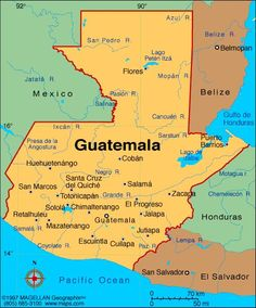 Mapa de Guatemala. Las mujeres de UPAVIM viven en las comunidades marginadas de La Esperanza, El Mezquital y Villa Lobos I y II, en la Zona 12 de la Ciudad de Guatemala.