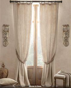 Textured Belgian Linen Drapery - mediterranean - curtains - Restoration Hardware