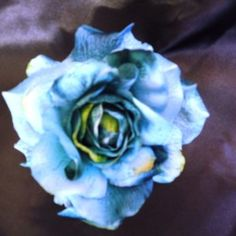 Blue/deep green Rose Flower on Velvet Rose's Pin Up Dressing Room - The vintage shop tailored to you #PinUpHairFlower #StockingStuffer Free Postage within Australia