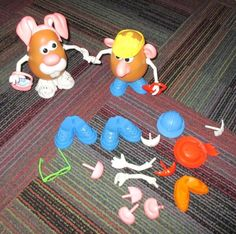 PLAYSKOOL MR.POTATO HEAD LOT, 2 LARGE SPUDS AND 32 INDIVIDUAL ACCESSORY PIECES #Playskool