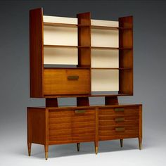 DESIGN OF DAY/20TH CENTURY 🇨🇵 в Instagram: «Gio Ponti 🇮🇹 Cabinet, model 2140 . Singer & Sons . Italy / USA . Circa. 1957 . Italian walnut, lacquered wood, brass. . 68 w × 19 d × 80½ h…» Gio Ponti, Aktiv, Adjustable Shelving, Sons, Bookcase, Brass, Singer, Shelves, Italy