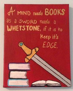 Books and Swords Game of Thrones Hand Painted Canvas Wall Art, 8x10, TalkingPretty on etsy