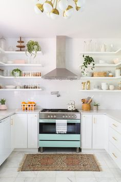Small Kitchen Remodel - Not everybody has the privilege of enjoying a large kitchen, especially when living in the city. In this case, Kitchen Shelves, Kitchen Cabinets, Open Shelves, Kitchen Appliances, White Cabinets, White Shelves, Kitchen Floors, Cheap Appliances, Wall Cabinets