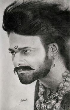Bahubali Prabhas Drawing by Marthand - Celebritys