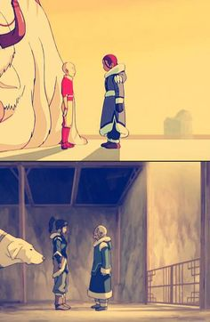 """Avatar the Last Airbender, The Legend of Korra. This is so sad.  Caption on the bottom, """"Aang, Honey? You in there?"""""""
