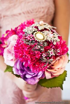 Bright + beautiful jeweled bouquet. add a brooch with sentimental value-family-something borrowed