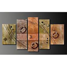 @Overstock - Hand-painted Oil on Canvas Wall Decoration 5-piece Art Set - Add a modern and unique twist to your room decor with this five-piece abstract oil painting measuring 68 inches wide by 39.5 inches high. This art set is hand-painted, gallery-wrapped, and includes mounted hangers for easy home decorating.    http://www.overstock.com/Home-Garden/Hand-painted-Oil-on-Canvas-Wall-Decoration-5-piece-Art-Set/4573312/product.html?CID=214117  $162.99