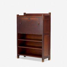 Roycroftrare drop-front desk, model c. pine, h × 36 w × 15 d in × 91 × 38 cm)Desk features two fixed shelves below a drop-front door concealing nine filing compartments. Roycroft, Front Desk, Auction, Carving, Shelves, Drop, Model, Shelving